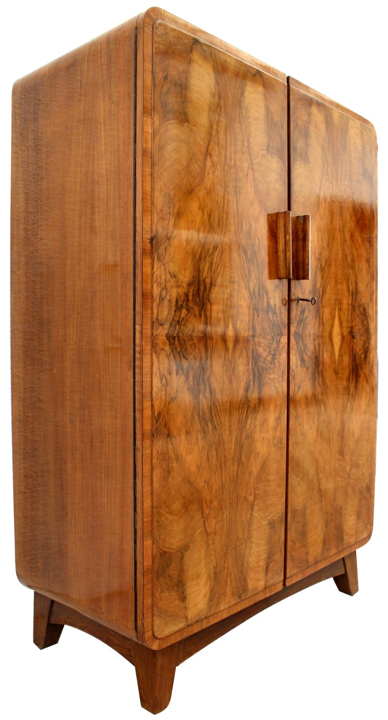 Art Deco Heavily Figured Double Wardrobe, circa 1930 1