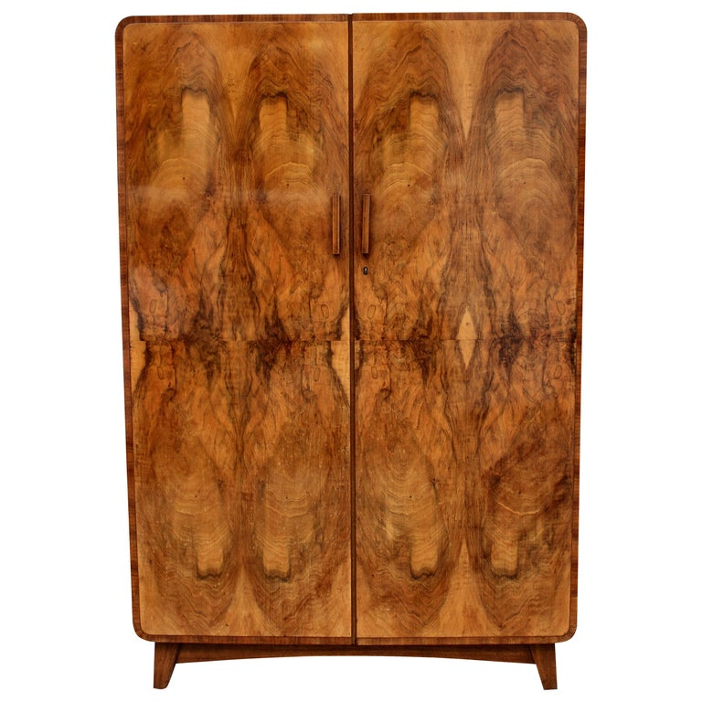Art Deco Heavily Figured Double Wardrobe, circa 1930