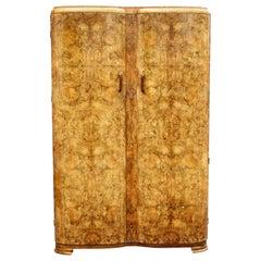 Art Deco Heavily Figured Honey Walnut Double Wardrobe, English, c1930