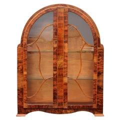 Art Deco Heavily Figured Walnut Display Cabinet, circa 1930