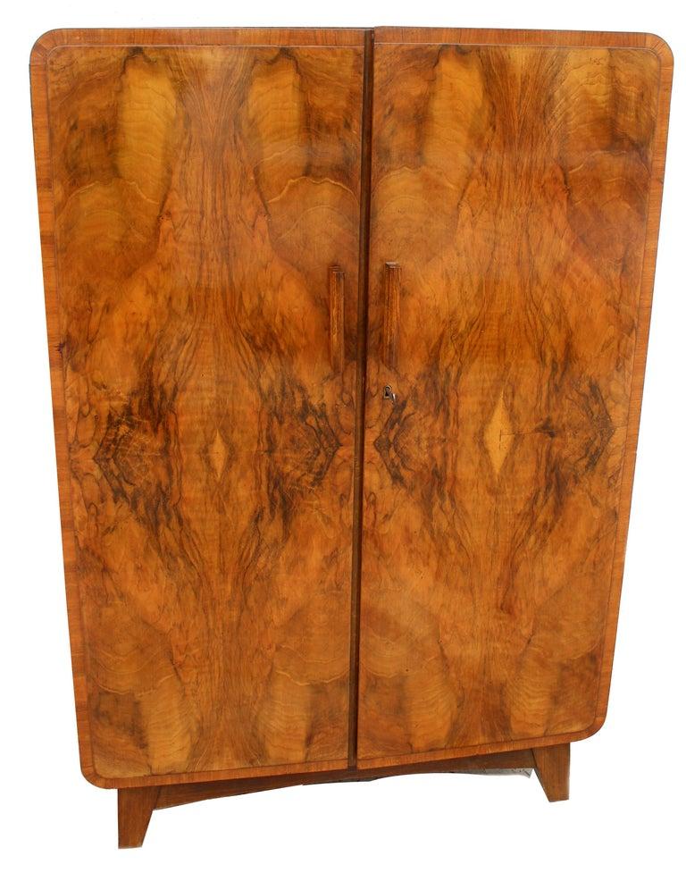 European Art Deco Heavily Figured Walnut Gents Wardrobe, Tallboy, circa 1930 For Sale