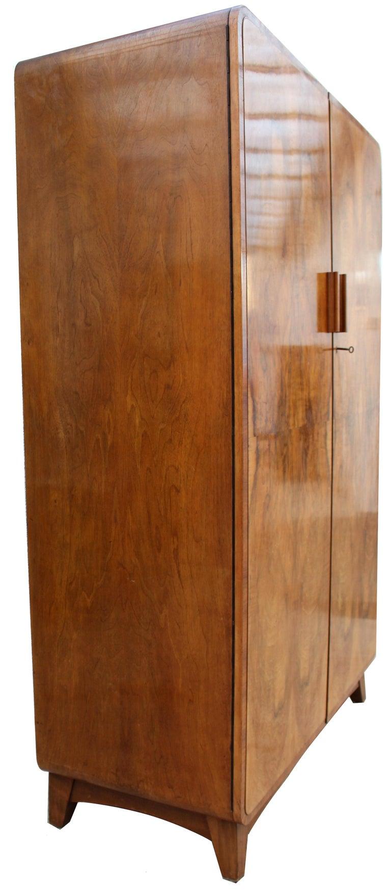 20th Century Art Deco Heavily Figured Walnut Gents Wardrobe, Tallboy, circa 1930 For Sale