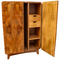 Art Deco Heavily Figured Walnut Gents Wardrobe, Tallboy, circa 1930
