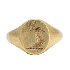 Art Deco Heraldic Intaglio Gold Signet Ring by Deakin & Frances