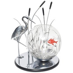 Art Deco Heron Bird and Cattails Chrome Sculpture with Glass Fish Bowl Aquarium