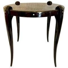 Art Deco High Lacquered Macassar and Mother of Pearl Side Table
