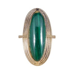 Art Deco High Set Malachite Ring in 9ct Yellow Gold