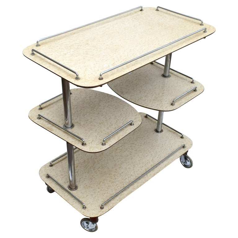 English Art Deco High Style Drinks Trolley Cart For Sale