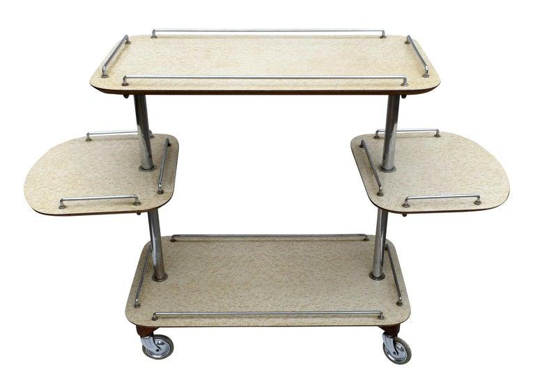 Chrome Art Deco High Style Drinks Trolley Cart For Sale