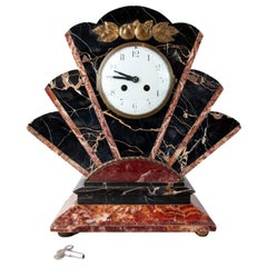 Art Deco Hollywood Regency Marble and Gilt Bronze Mantel Clock, circa 1930