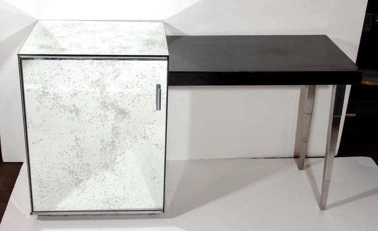 American Art Deco Hollywood Regency Mirrored Vanity and Writing Desk, circa 1940s For Sale