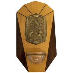 Art Deco Holy Water Font Jesus Christ Sacred Heart, French, Early 20th Century