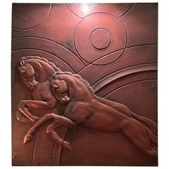 Art Deco Horse Bas Relief 1930's Interior Large Copper Design