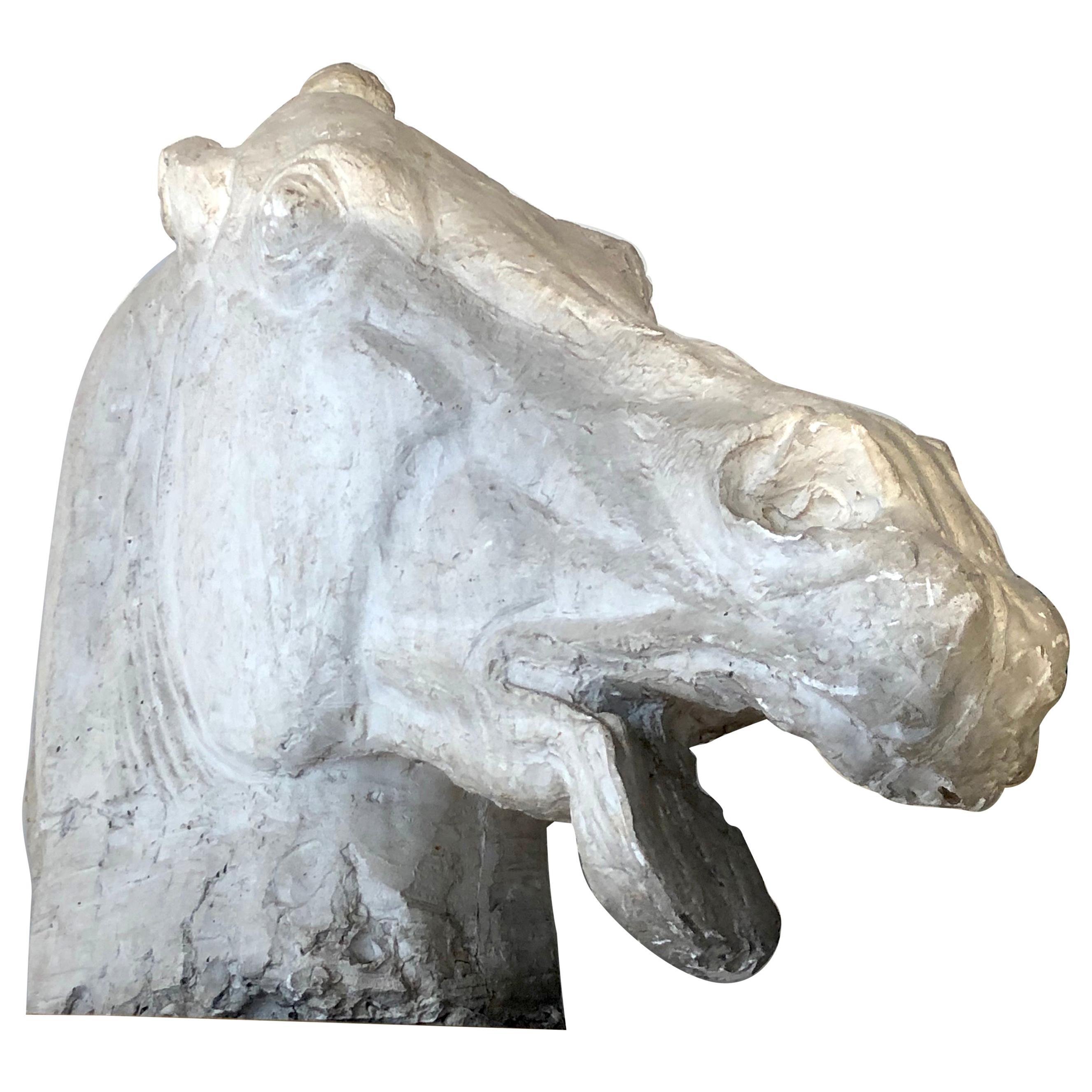Art Deco Horse Head Animal Sculpture Plaster
