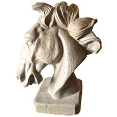 Art Deco Horse Head with Flowing Mane of Polished Concrete
