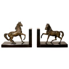 Art Deco Horses Shaped Bronze and Black Marble Bookends