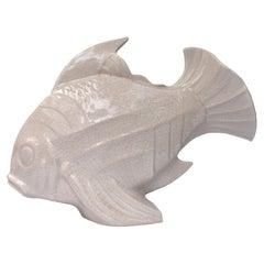 Art Deco Huge Ceramic Crackle Glazed Fish, Signed LEJAN, c1930
