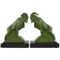 Art Deco Ibex or Ram Bookends Max Le Verrier France, 1930