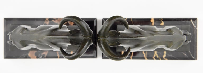 Art Deco Ibex or Ram Bookends Max Le Verrier France 1930 Original For Sale 3
