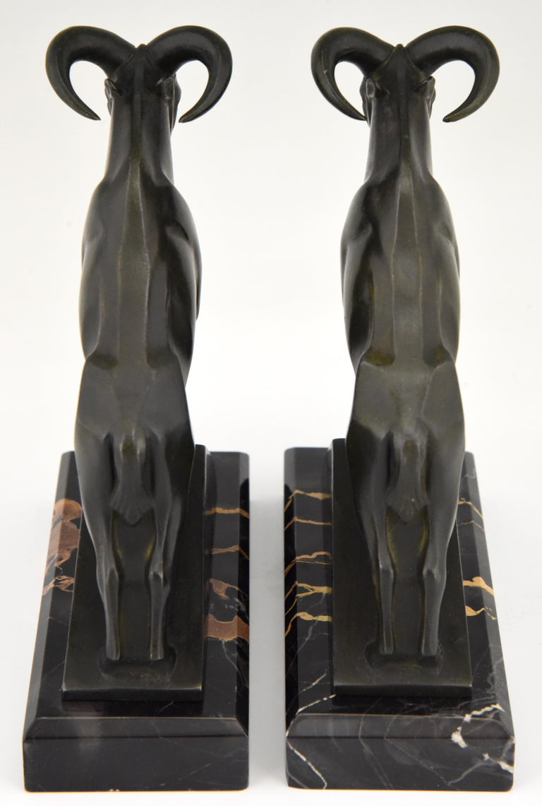 French Art Deco Ibex or Ram Bookends Max Le Verrier France 1930 Original For Sale