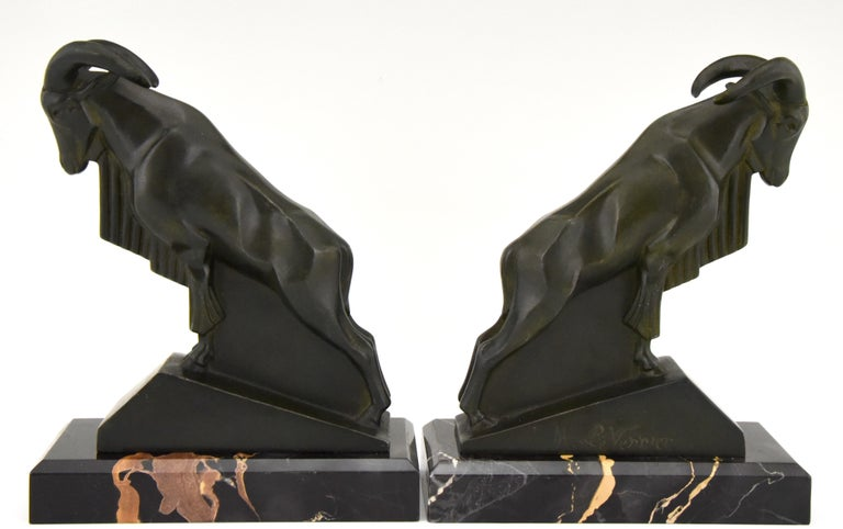 Patinated Art Deco Ibex or Ram Bookends Max Le Verrier France 1930 Original For Sale