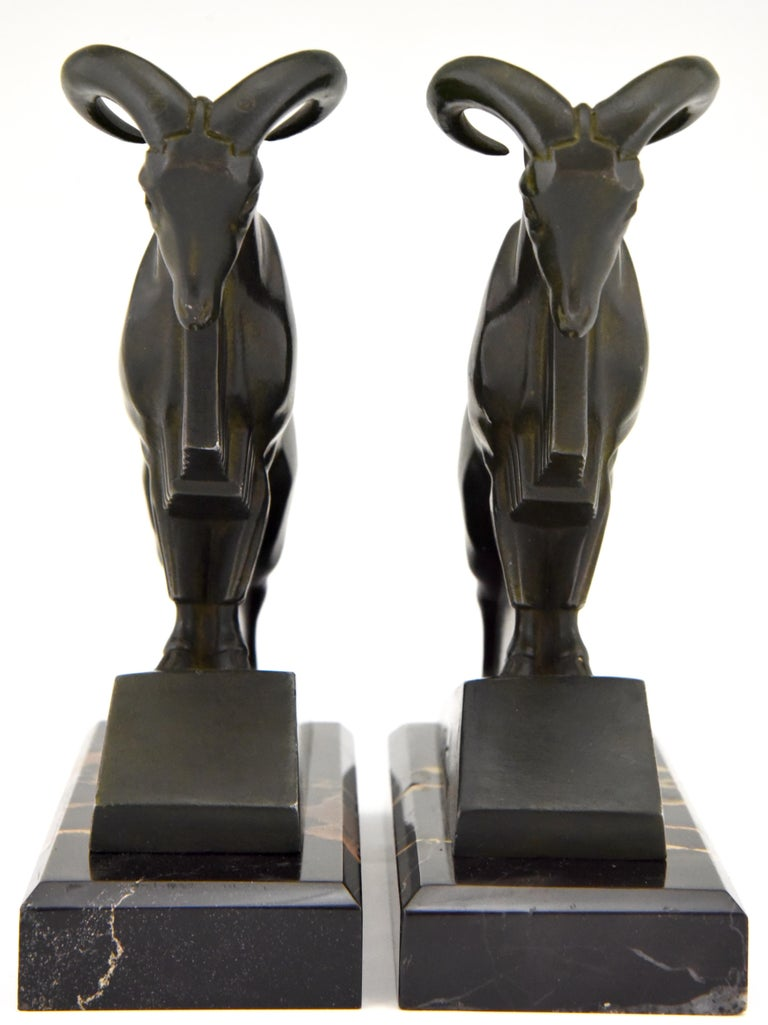 Art Deco Ibex or Ram Bookends Max Le Verrier France 1930 Original In Good Condition For Sale In Antwerp, BE