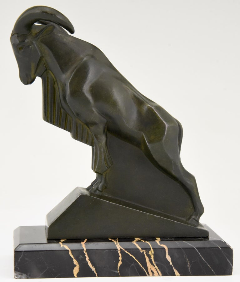 Metal Art Deco Ibex or Ram Bookends Max Le Verrier France 1930 Original For Sale