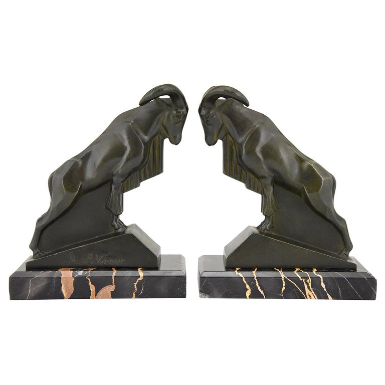 Art Deco Ibex or Ram Bookends Max Le Verrier France 1930 Original For Sale