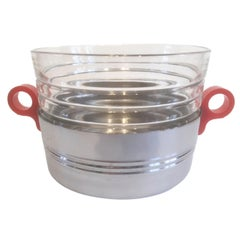 Art Deco Ice Bowl, Chrome with Red Bakelite Handles and Ribbed Glass Liner