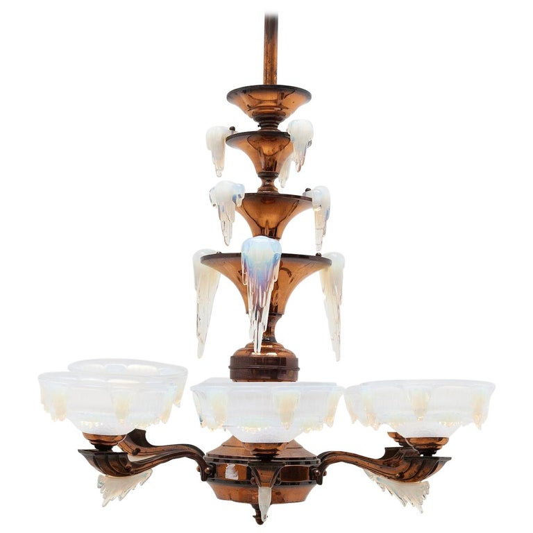 "Art Deco ""Icicle"" Glass Chandelier by Ezan, France, 1930s For Sale"