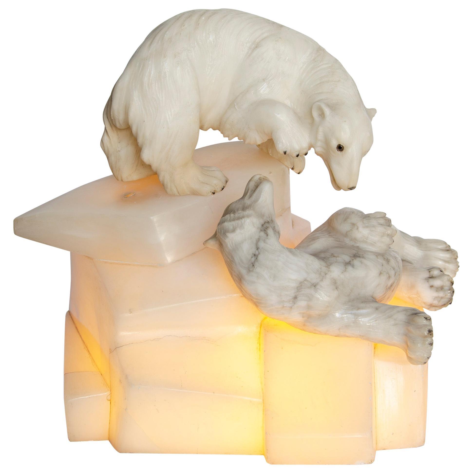 Art Deco Illuminated Bear Sculpture