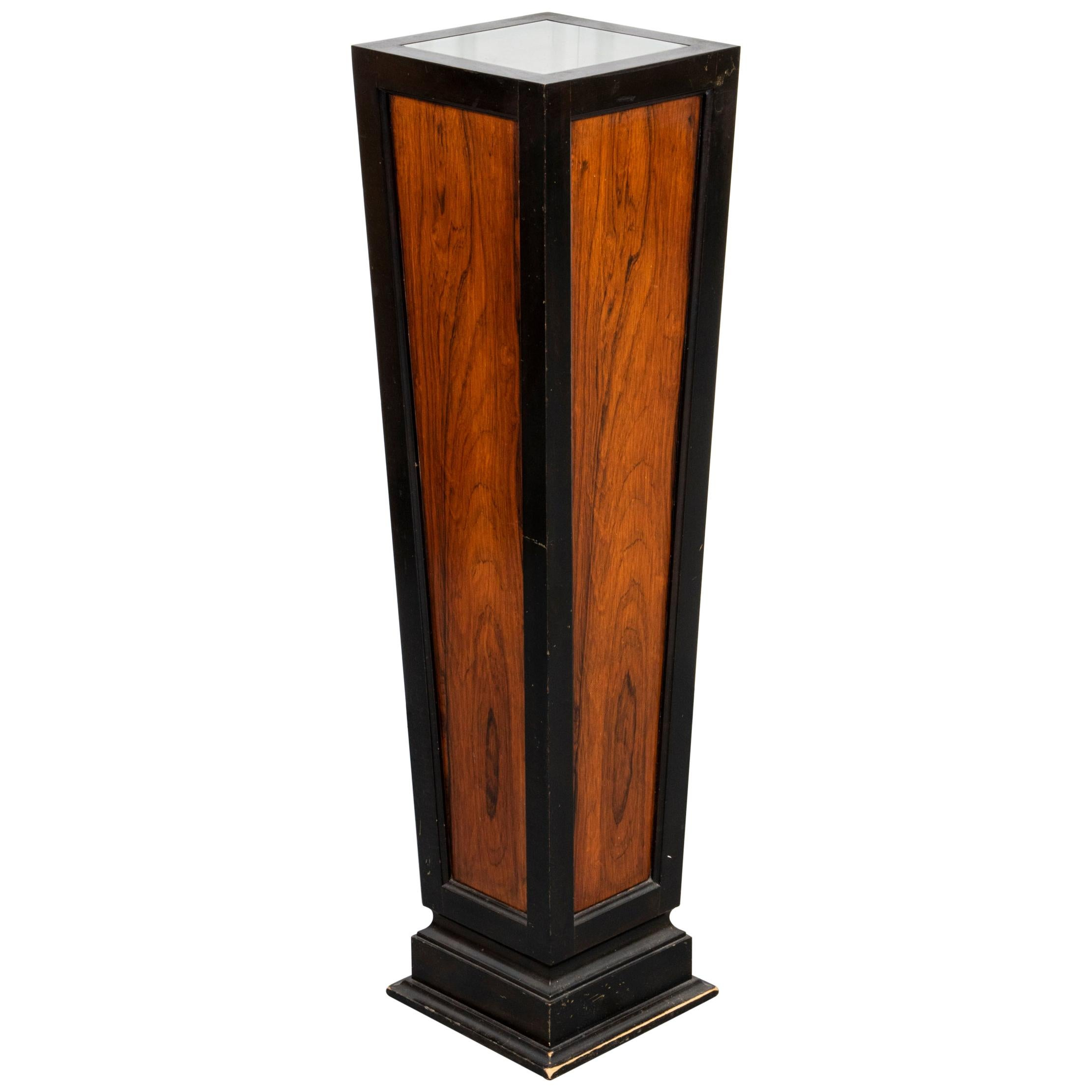 Art Deco Illuminated Parcel Ebonized Pedestal