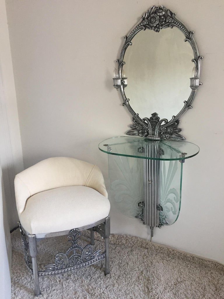 Art Deco Illuminated Vanity Together Mirror with Stool Paramount Theater Boston For Sale 3