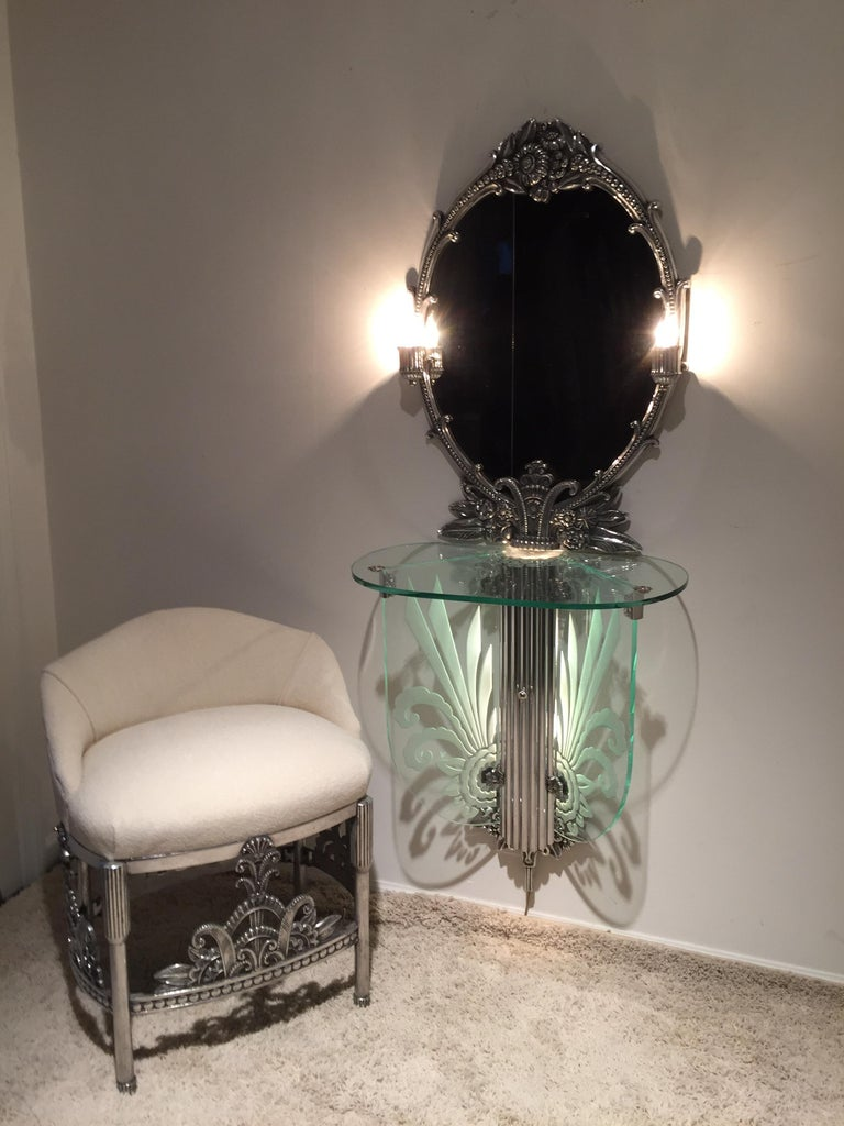 American Art Deco Illuminated Vanity Together Mirror with Stool Paramount Theater Boston For Sale