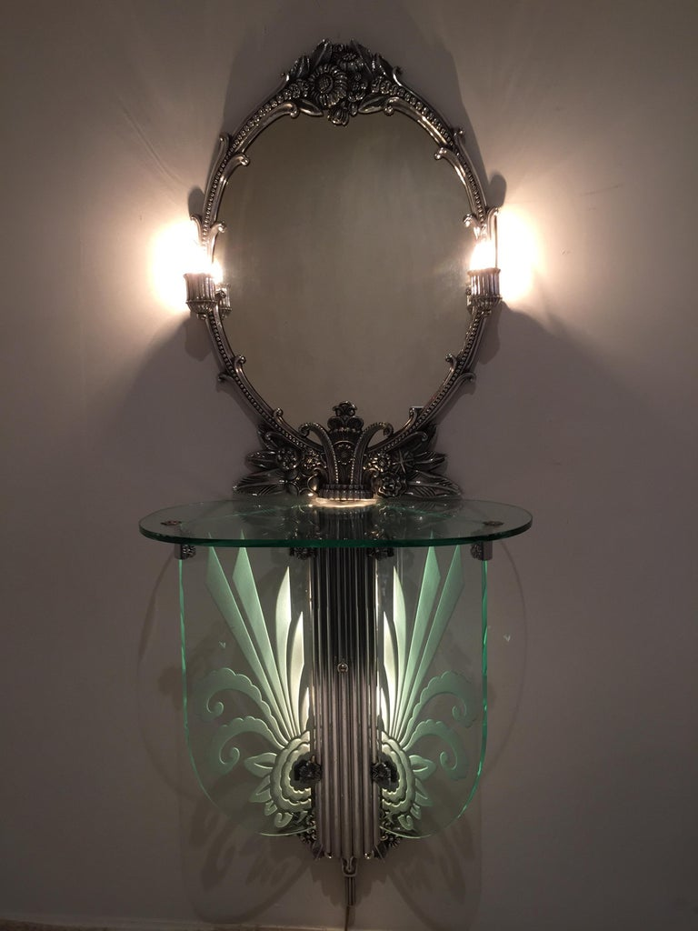 Polished Art Deco Illuminated Vanity Together Mirror with Stool Paramount Theater Boston For Sale