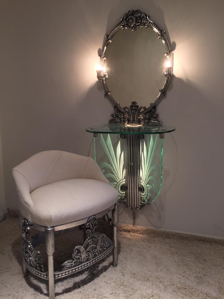 Art Deco Illuminated Vanity Together Mirror with Stool Paramount Theater Boston In Good Condition For Sale In Westport, CT