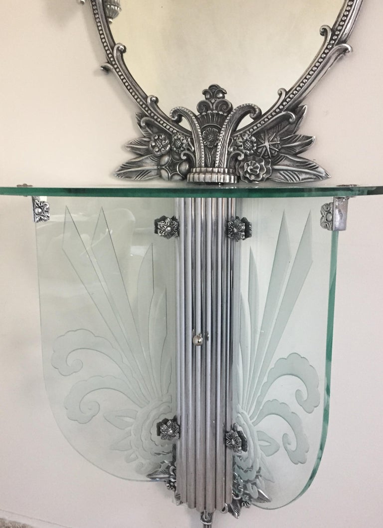 20th Century Art Deco Illuminated Vanity Together Mirror with Stool Paramount Theater Boston For Sale