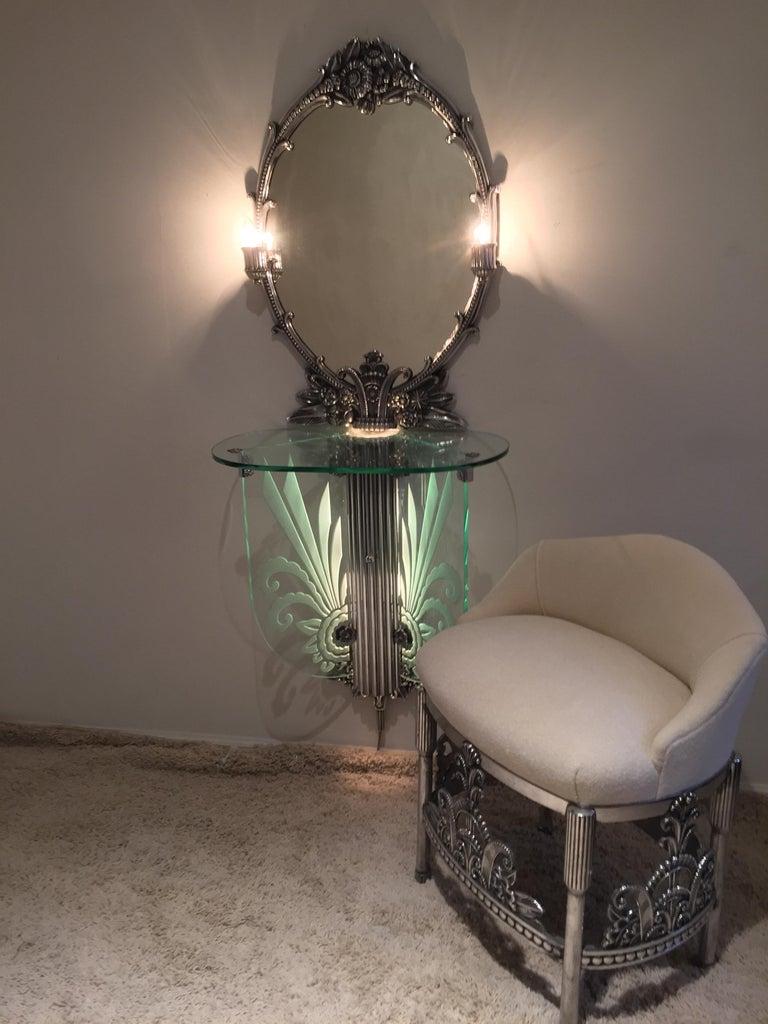 Aluminum Art Deco Illuminated Vanity Together Mirror with Stool Paramount Theater Boston For Sale