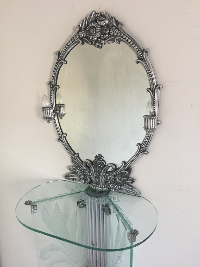 Art Deco Illuminated Vanity Together Mirror with Stool Paramount Theater Boston For Sale 1