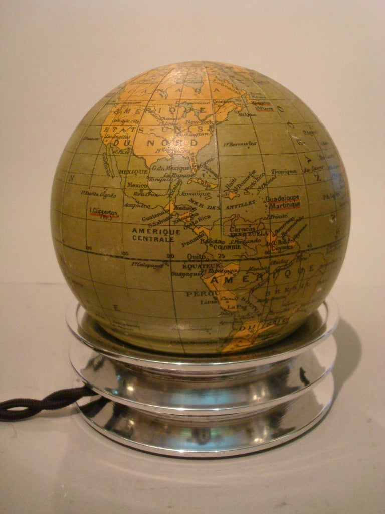 Art Deco Illuminated World Globe Table Lamp Glass France