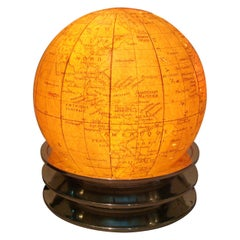 Art Deco Illuminated World Globe Table Lamp Glass, France