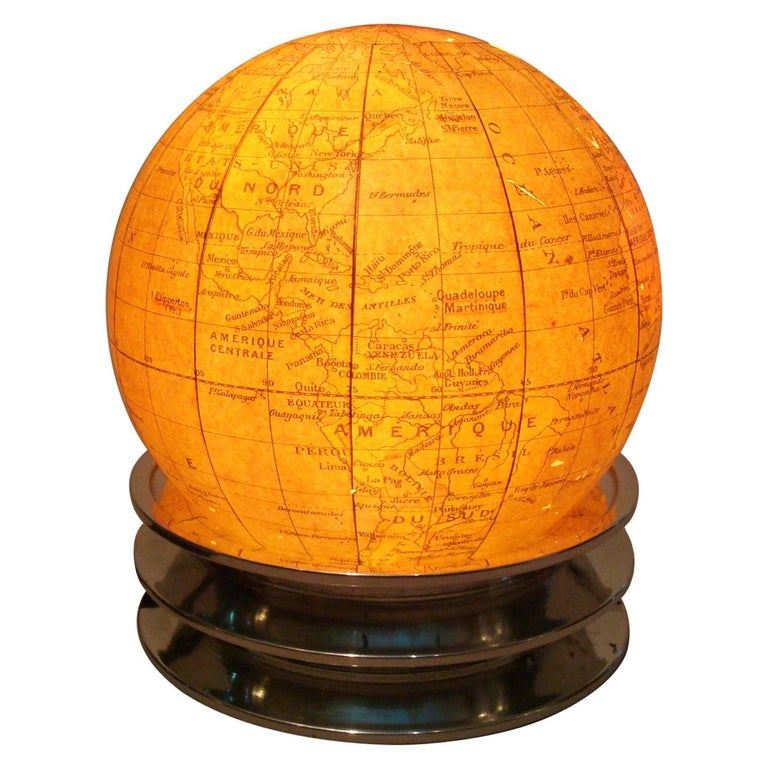 Art Deco Illuminated World Globe Table Lamp Glass France For Sale