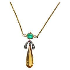 Art Deco Imperial Topaz & Emerald Necklace