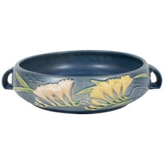 Art Deco Indigo Decorative Bowl with Lily of the Valleys Motif by Roseville