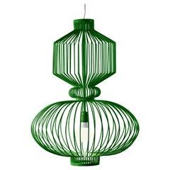 Art Deco, Industrial Emerald Green Pendant Revolution Suspension Lamp