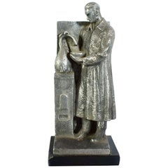 Art Deco Industrial Figure of a Scientist by L Frizzi, Italian, circa 1930