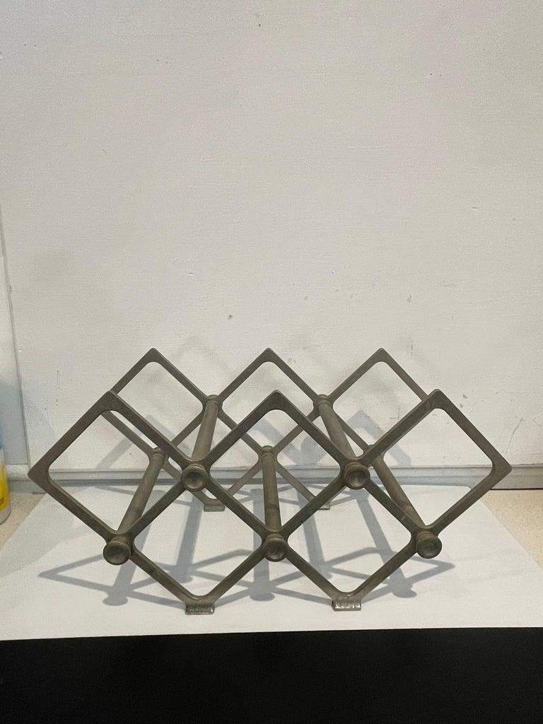 American Art Deco Industrial Wine Rack Cast Aluminum Frame 7 Bottle Capacity
