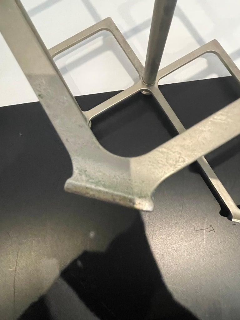 Art Deco Industrial Wine Rack Cast Aluminum Frame 7 Bottle Capacity In Good Condition In San Diego, CA