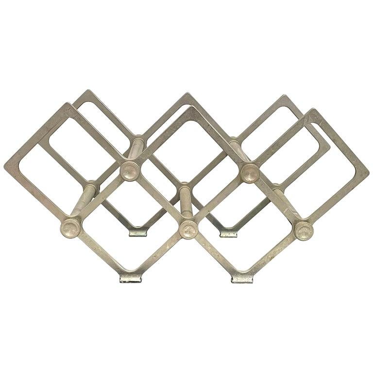 Art Deco Industrial Wine Rack Cast Aluminum Frame 7 Bottle Capacity