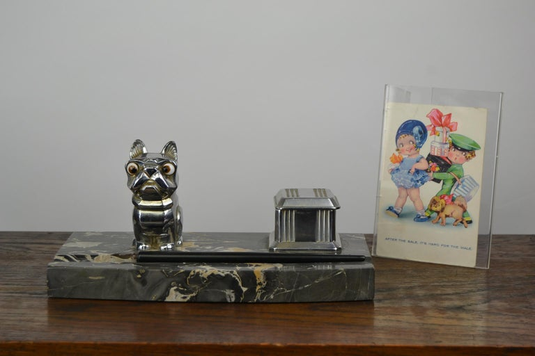 Art Deco Inkwell with Chromed French Bulldog Figurine H. Moreau, 1920s, France For Sale 15
